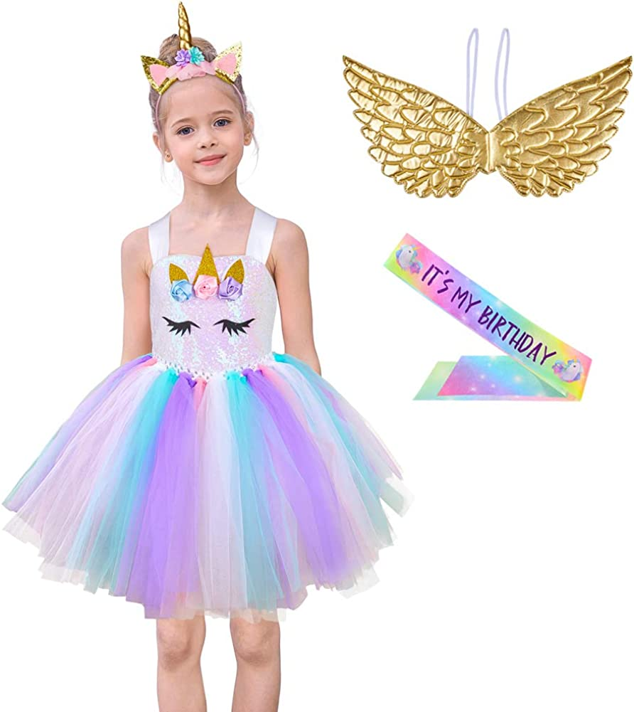 MHJY Girls Sequin Unicorn Tutu Dress Birthday Party Halloween Unicorn Costume with Headband, Wings and Sash