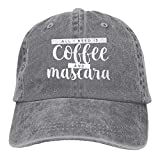 #10: LuckFu All I Need Is Coffee and Mascara Unisex Denim Jeanet Baseball Cap Adjustable Hunting Cap For Men Or Women