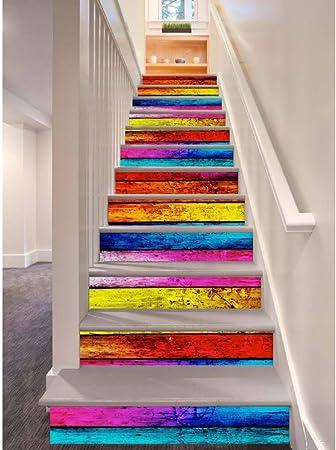 12pcs Etiquetas engomadas de la escalera, Arcoíris de estilo 3D de madera autoadhesiva Decal Escaleras Escaleras de bricolaje extraíbles Pasos Decoración Papel 100x18cm (Colorful): Amazon.es: Hogar