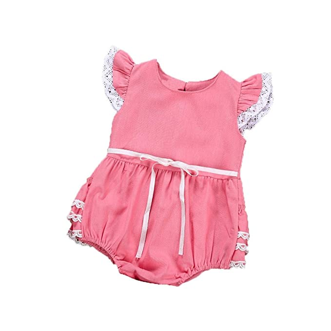 1eb568c2adc Minisoya Summer Cute Infant Kids Newborn Baby Girls Bowknot Ruffle Lace  Romper Jumpsuit Playsuit Outfit Clothes