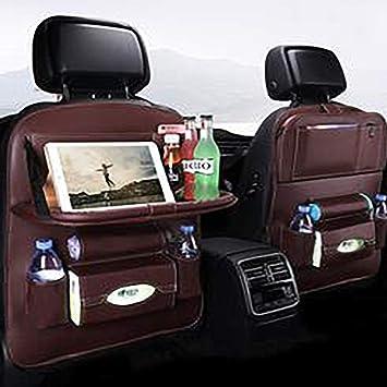 Car Back Seat Protector Leather Organizer Phone Tablet Holder Pocket Storage Bag