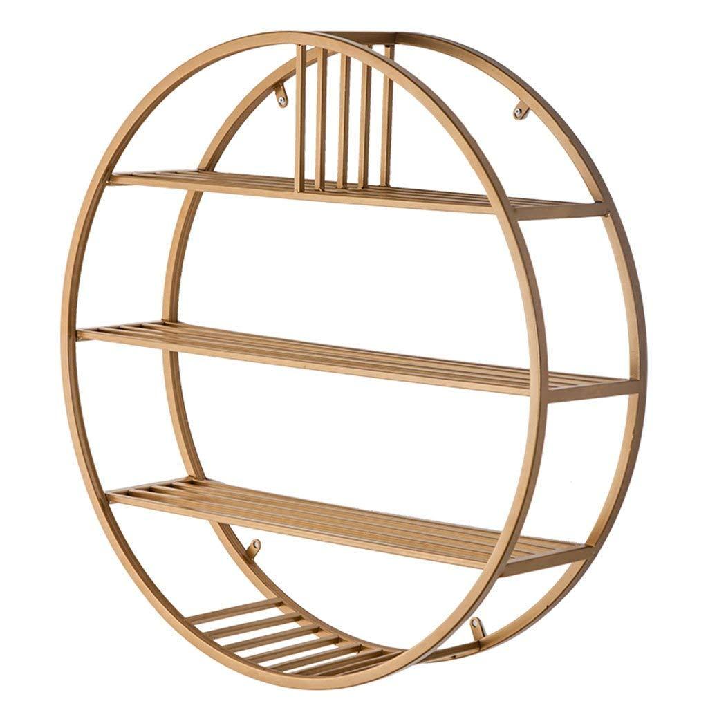 YCT 装飾的なフレームアイアンアート収納ラック、リビングルームの寝室レストラン収納ラッククリエイティブ多層円形収納ラック直径 (Color : Gold, サイズ : 20*60*60CM) B07SF68C7K Gold 20*60*60CM