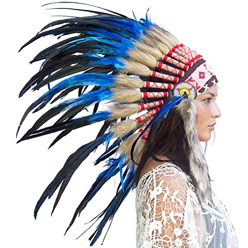 Feather Headdress- Native American Indian Style- Handmade by Artisan Halloween Costume for Men Women with Real Feathers - Dark Blue Rooster (Hat Balinese)