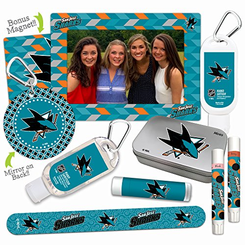(NHL San Jose Sharks Platinum Variety Set- with 2 Lip Shimmers, Lip Balm SPF 15, Nail File, Mirror, Sanitizer, Lotion, Mint Tin, Magnetic Picture Frame. Gifts for Women, by Worthy.)
