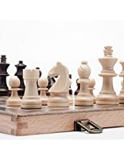 "A&A 11.5"" Wooden Chess Set - 2.5"" King Height Wooden Chess Pieces / German Knight Staunton Wooden Chessmen - Classic Board Game"