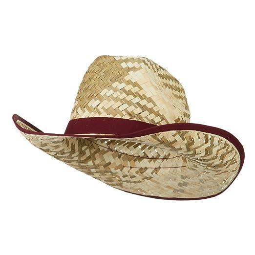 e27a1b25614e3 Contrast Detail Natural Straw Cowboy Hat - Burgundy OSFM at Amazon ...
