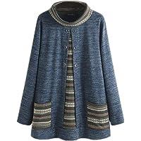 SGYH - Suéter Holgado de algodón Estilo Folk para Mujer, Talla Grande, Manga Larga, Cuello Alto