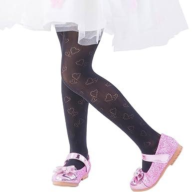 1e3a8be9c90 FUN fun lace fishnet tights(Heart pattern) Kids Girls Dress Party stockings  Black 34