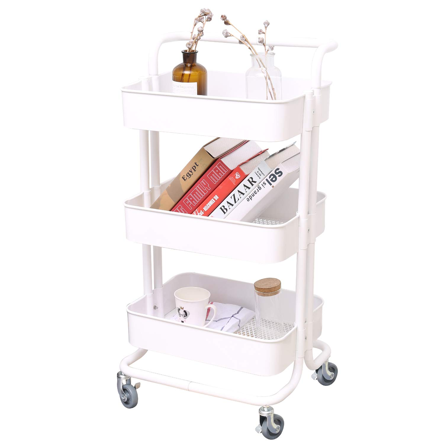 3-Tier Metal Mesh Storage Utility Cart with Brake Caster Wheels, Rolling Cart with Utility Handle, Cream White