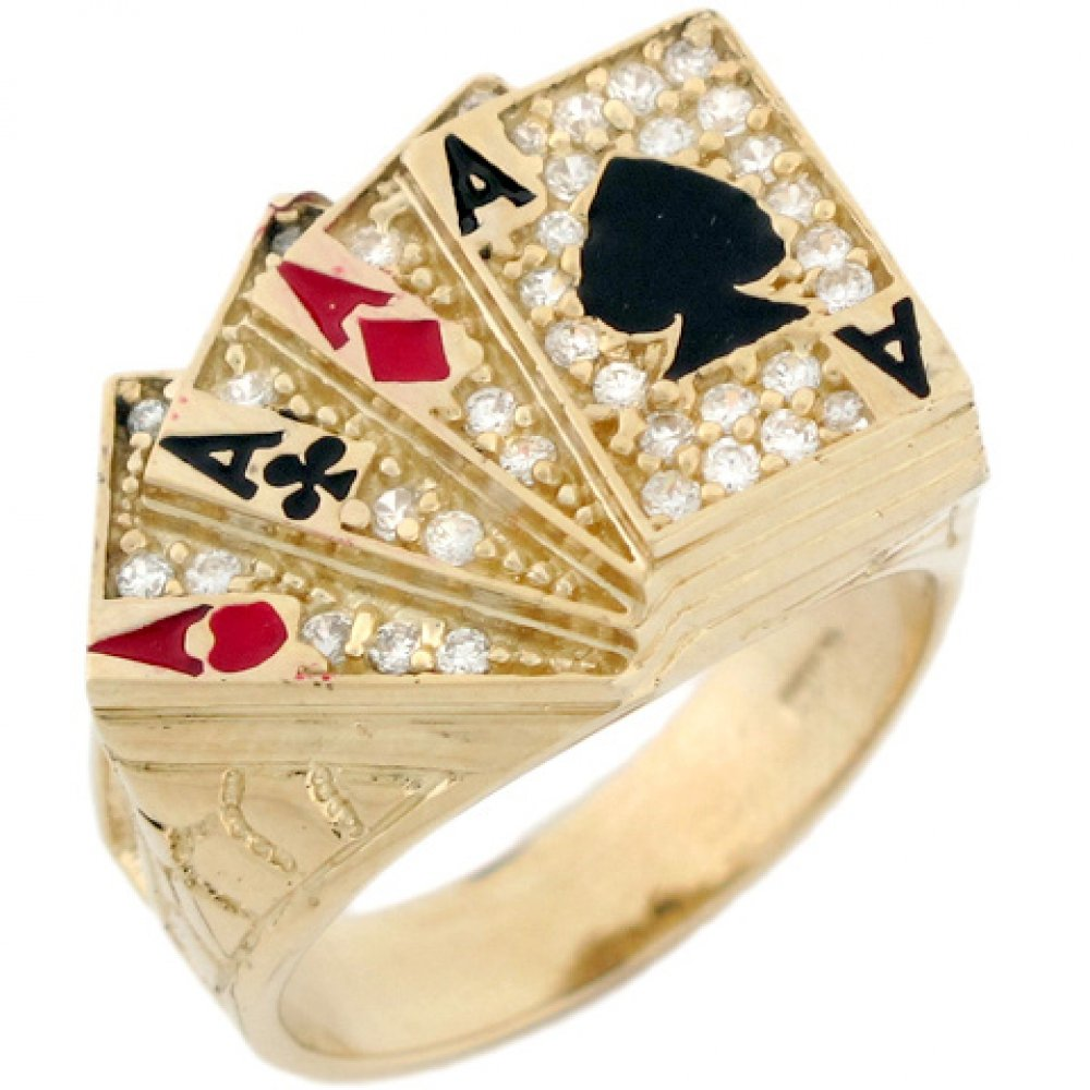 14k Solid Gold CZ Four of A Kind Poker Enamel Lucky Large Mens Ring