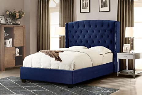 Amazon.com: Martelle Cal King Tufted Bed in Royal Navy Velvet with ...