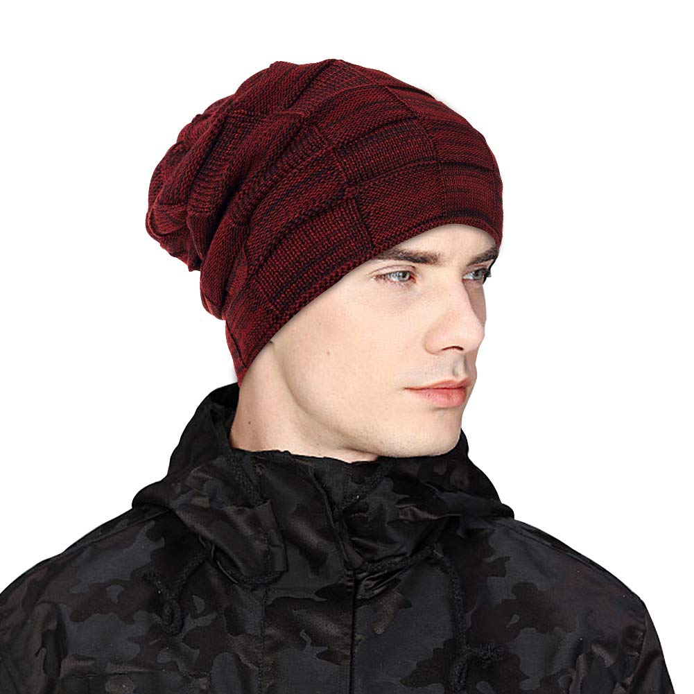 UKLink Beanie Hat Men Women Warm Knit Hat Oversize Skull Cap Male Female  Skiing Running Hiking a07c2ecd9278
