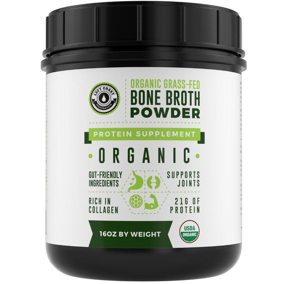 Organic Grass Fed Beef Bone Broth Protein Powder - 16oz, 20 Servings. Unflavoured, Pure. Keto Friendly Protein Powder. Paleo, USDA Certified Organic, Left Coast Performance