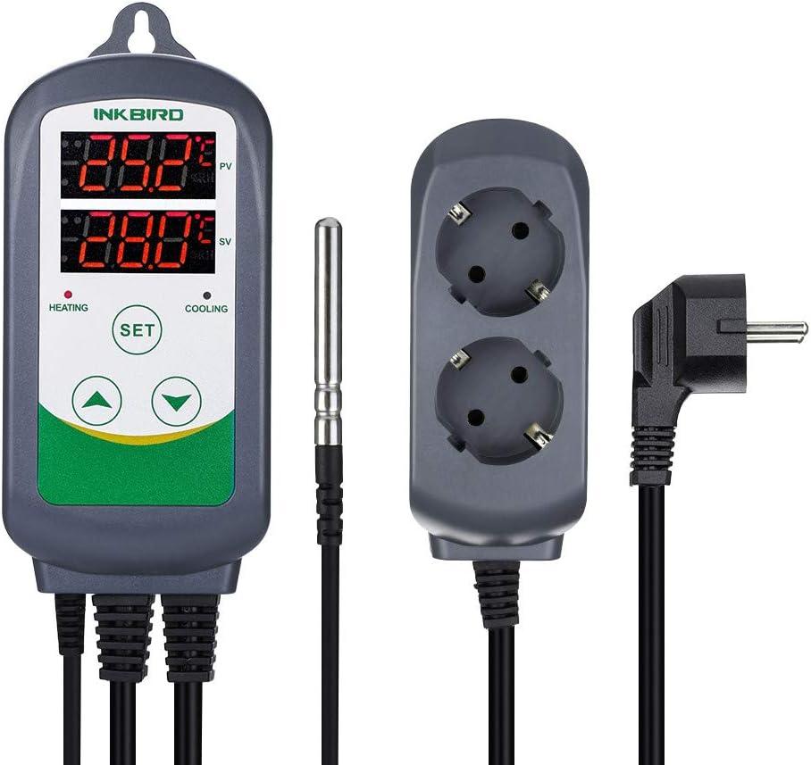 Inkbird ITC-308 Termostato Digital 2 Relés Control la Temperatura Rango del Calefacción y Refrigeración para Fabricación de Cerveza, Incubadoras Reptiles, Acuarios