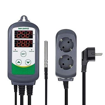 Inkbird ITC-308 Termostato Digital 2 Relés Control la Temperatura Rango del Calefacción y Refrigeración para Fabricación de Cerveza, Incubadoras Reptiles, ...