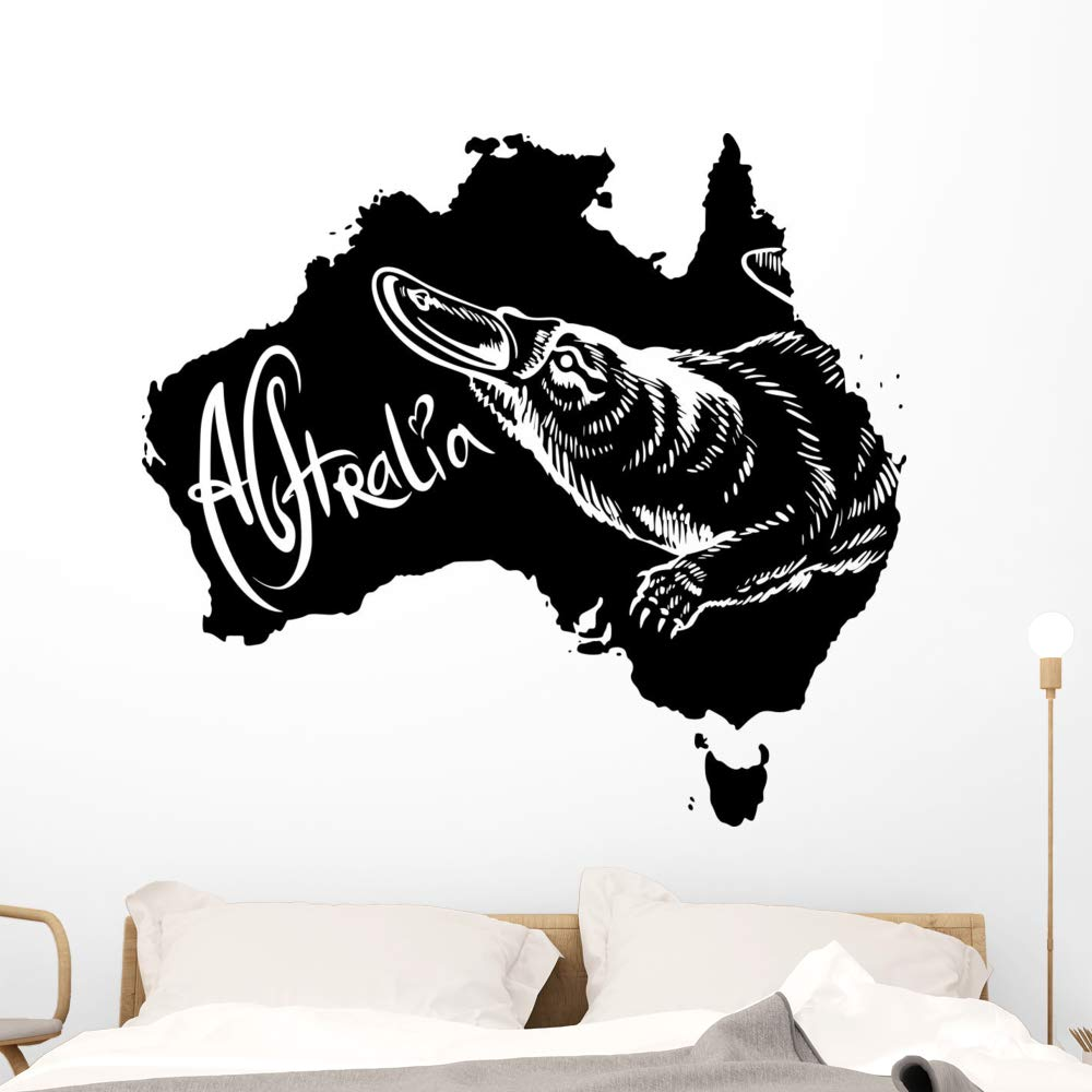Wallmonkeys Platypus as Australian Symbol Wall Decal Peel and Stick Animal Graphics (48 in W x 44 in H) WM502945