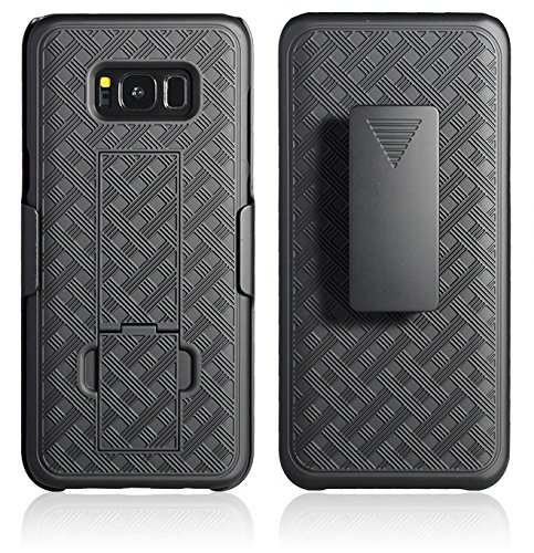 (Galaxy S8 Plus Holster Case, WizGear Shell Holster Combo Swivel Slim Belt Case for Samsung Galaxy S8 Plus (ONLY for S8 Plus) with Kick-Stand and Belt Clip - Black)