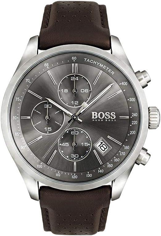 Hugo boss grand prix 1513476 - orologio da uomo con cinturino in pelle, colore: grigio