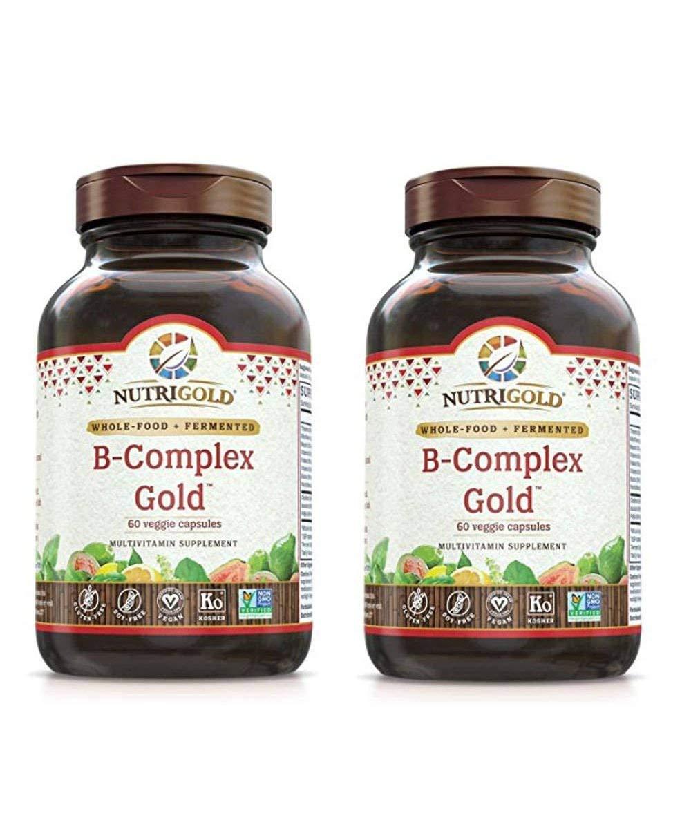Nutrigold Vitamin B-Complex Gold - Organic, Whole-Food (60 Vegan Capsules) Pack of 2