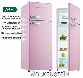 Retro Kuhl Gefrier Kombination Pink Glanz Gk212 4rt A 206 Liter