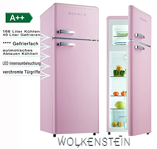 Wolkenstein GK212.4RT - Frigorífico de estilo retro en color rosa ...