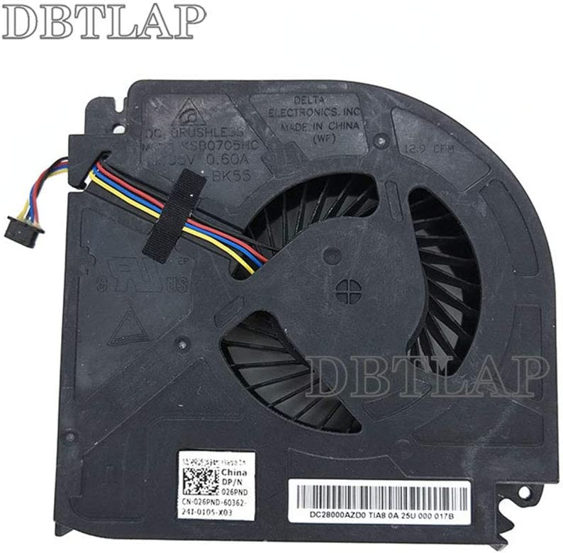 Looleking Laptop CPU Cooling Fan for Dell Precision M6400 M6500 M6600 P//N DQ5D588H401 0Y4XY2