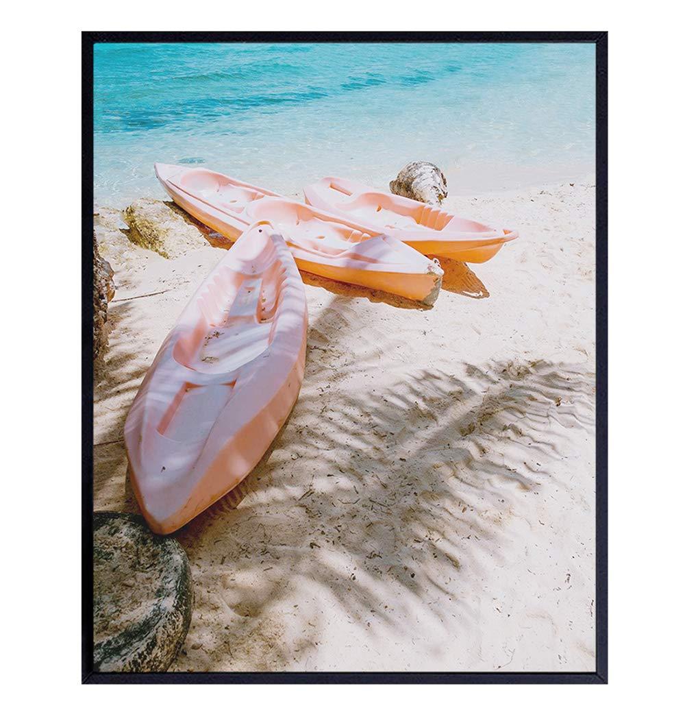 Kayaks on Beach Wall Decor - 8x10 Ocean Wall Decor - Nautical Wall Art for Bathroom, Bath, Living Room, Bedroom - Summer Tropical Decorations or Gift for Sea Lovers - UNFRAMED Boho Photo Photograph