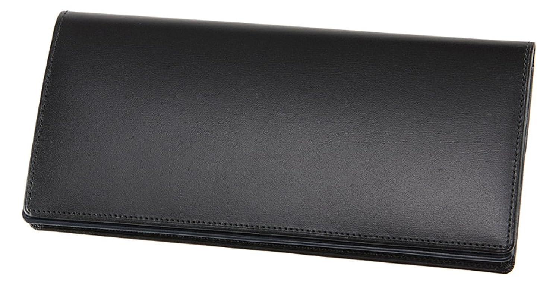 【CYPRIS COLLECTION】長財布(通しマチ束入)■ボックスカーフ&リンピッドカーフ B073QK8K24ブラック/ネイビー