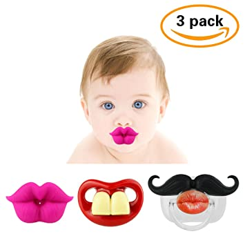 FUNNY BABY MUSTACHE PACIFIER: Cute baby pacifiers designed with adorable  kiss lips, funny teeth
