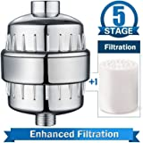 5-Stage High Output Universal Shower Filter with Replaceable Multi-Stage Filter Cartridge to Remove Chlorine & Sediments to Purify Water,Free Teflon Tape,Chrome