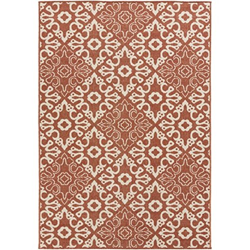 - Diva At Home 6' x 9' Majestic Medina Cayenne Pepper Red and Sandy Beige Shed-Free Area Throw Rug