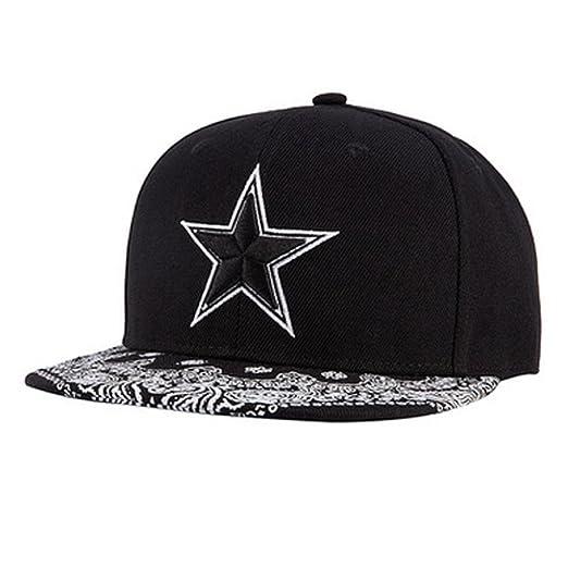 60b2c7e5e41 Unisex Star Embroidery Snapback Hats Men Women Adjustable Baseball Cap  Black (A