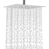 cool new shower heads 12 Inch Rain Shower Head, NearMoon High Pressure Stainless Steel Bath Shower, Ultra Thin Rainfall Showerhead Waterfall Body Covering with Silicone Nozzle and Powerful Spray Performance (12'' Square)