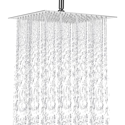 12 Inch Rain Shower Head, NearMoon High Pressure Stainless Steel Bath Shower, Ultra Thin Rainfall Showerhead Waterfall Body Covering with Silicone Nozzle and Powerful Spray Performance(12'' Square)