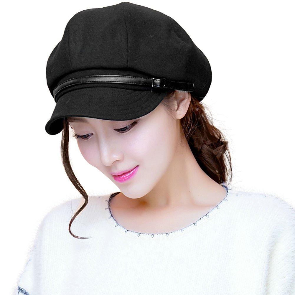 Siggi Ladies Newsboy Cabbie Cap Black Cloche Hat Painter Caps for Women Winter