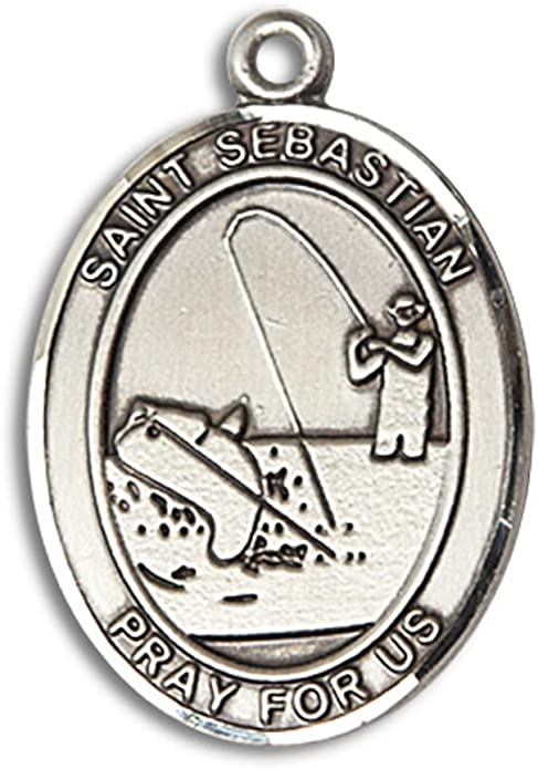 Baseball Hand-Crafted Oval Medal Pendant in Sterling Silver Bonyak Jewelry St Sebastian
