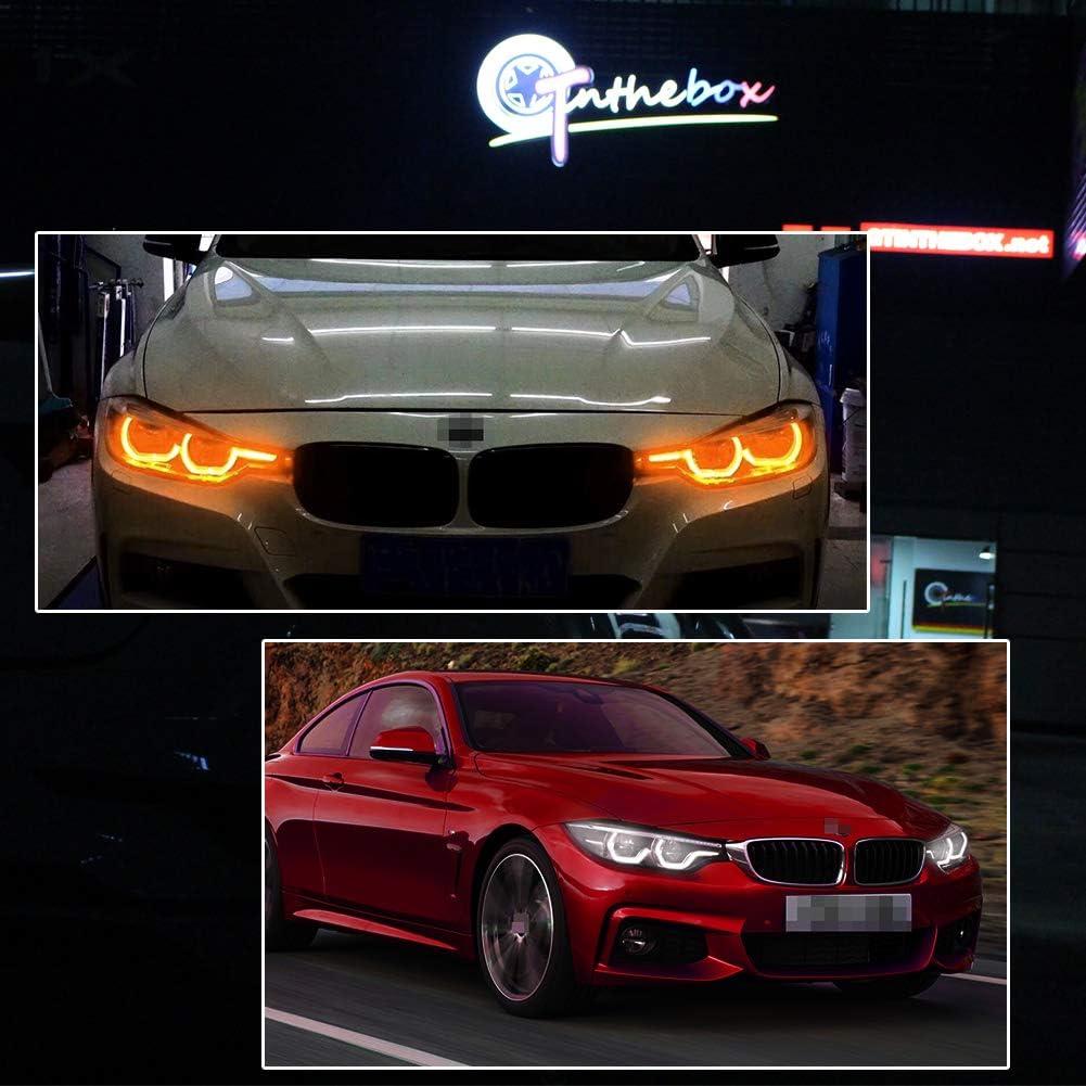 GTINTHEBOX Switchback Amber//White Headlight LED Daytime Running Lights Angel Eye Retrofit Kit with Relay Wiring for BMW 2 3 4 5 Series