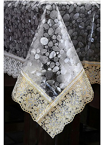 Generic Classic Transparent Printed Bubble Design with Golden Lace 6 Seater Dining Table Cover Price & Reviews