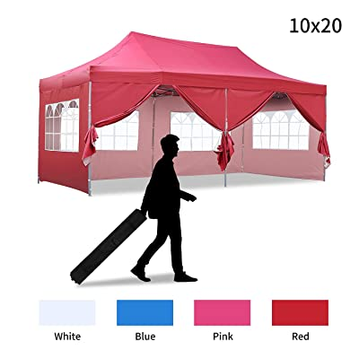 Klismos 10x20Ft Outdoor Canopy Tent Pop up Wedding Commercial Gazebo Tent for Party Beach with Removable Sidewalls(Red) : Garden & Outdoor