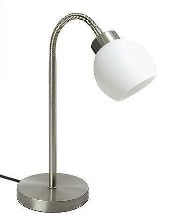 TRANGO Lámpara de escritorio LED en níquel mate con pantalla de ...