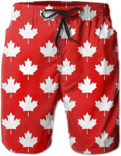 Polyester Canadian with Maple Leaf Pattern Swimsuit with Pockets Mens Quick Dry Swim Trunks
