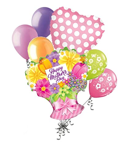 Amazon.com: 7 pc Pastel Flower Bunch Happy Mother\'s Day Balloon ...