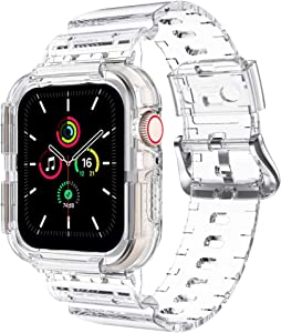 Clear Watch Band for Apple Watch 42mm 44mm, Transparent Sports iWatch Band with Case Replacement Strap for Apple Watch Series 6/5/4/3/SE(44mm, clear)