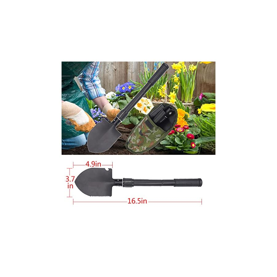 MEET Y Portable Folding Shovel,Compact Camping Gear for Car,Gardening,Snow Shovel with Carry Pouch