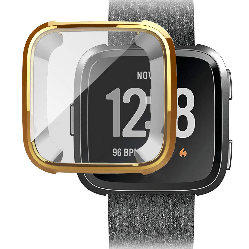 Ljnuanrg for Fitbit Versa Screen Protector Case ,Electroplated TPU All-Inclusive Case (Gold, ONE)