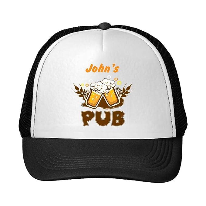 6a23a8d9f06c3 Personalized Custom Text Pub Unisex Adult Snaps Polyester Trucker Hat  Adjustable Cap - Black