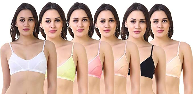 3f0ae1ecaa5 SK Dreams Cotton Women s Bra Combo (Pack of 6)  Amazon.in  Clothing ...