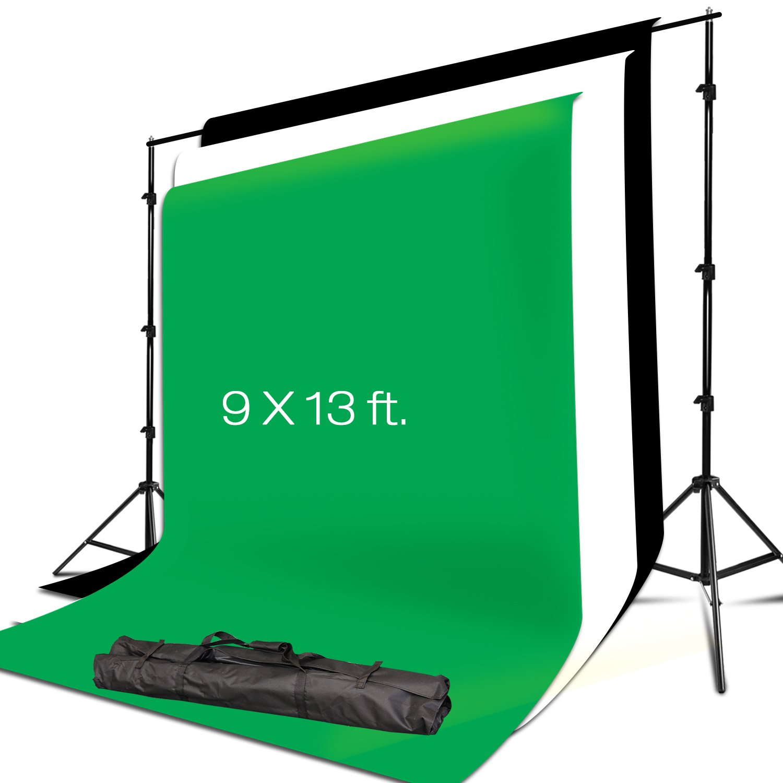Julius Studio 10 x 8.5 FT. Background Muslin Backdrop Support System with 9 x 13 FT. Black, White, Green Backdrop Muslin, Photo / Video Studio Kit, JSAG311