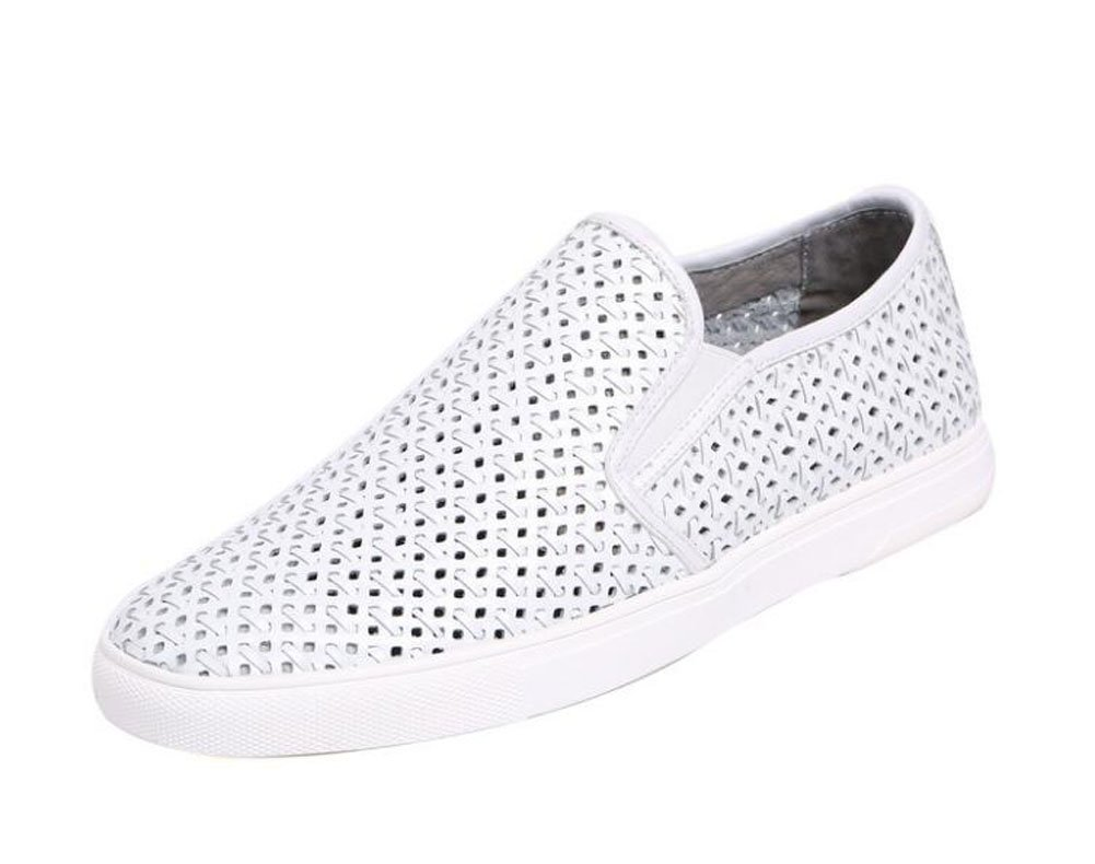 Men Oxfords Flats Shoes Summer New Hollow Breathable Board Shoes Leather Daily Casual Shoes Trend Driving Shoes Slippers ( Color : White , Size : 37 )