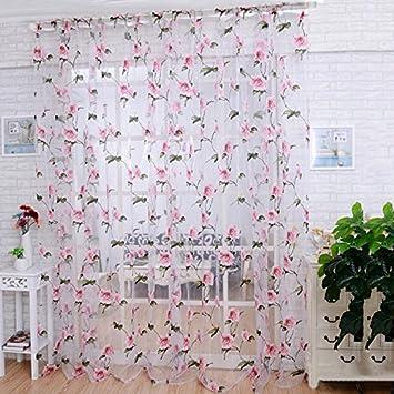 200x100cm Schick Blüten Tüll Fenster Vorhang Tafeln Voile Drapieren Schal  Netz Valances Für Wohnzimmer Balkon Schlafzimmer